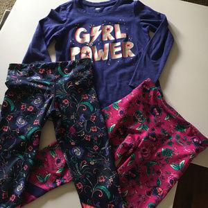 Girls Athletic Long Sleeve Tee & Matching Leggins